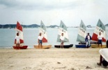 Rob Taylor, Stuie MacPherson, Peter Wood, Khun X & John Batt in the 'early days' with Optimists for Phuket Yacht Club